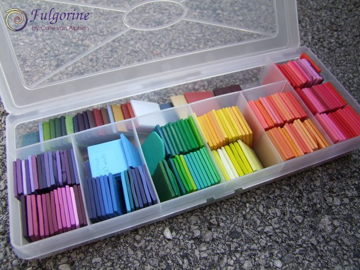 Make a box of each of your Polymer Clay colors (or mixes you enjoy)! Box of polymer clay colour tiles