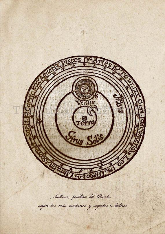 Jerónimo Cortés   Lunario nuevo, perpetuo y general y pronóstico de los tiempos universales (1594)   drawing of the Ptolemaic theory of the universe