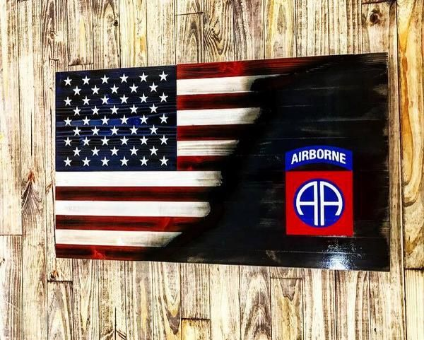82nd Airborne Division Army American Flag Veteran weathered vinyl sticker decal