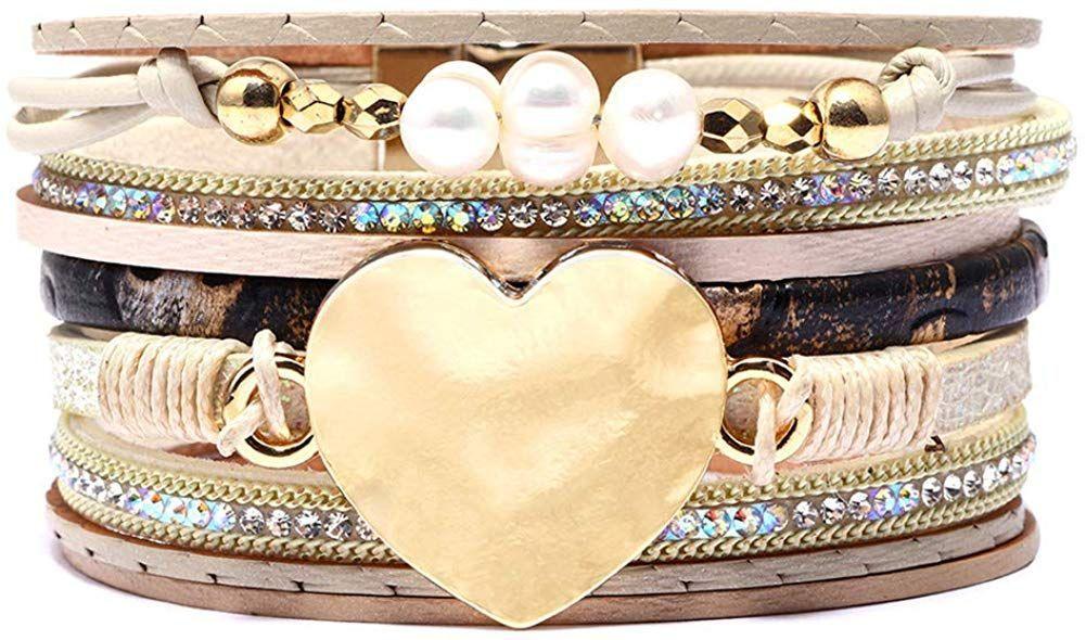 Leather wrap bracelet boho cuff bangle with alloy magnet buckle braceletsperfect womengirlsdaughter Leather wrap bracelet boho cuff bangle with alloy magnet buckle bracel...