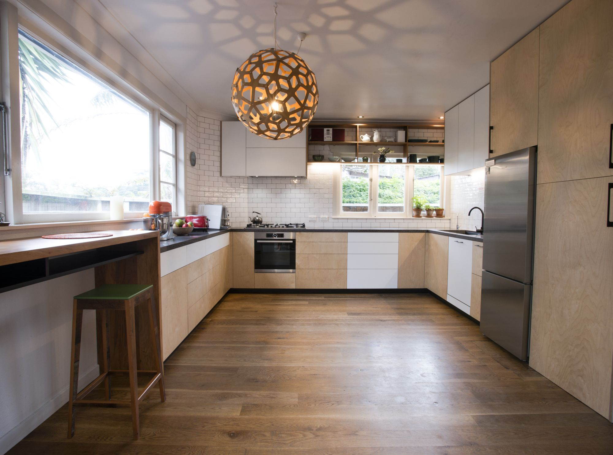 Birch Ply Kitchen with recycled timber detailing by