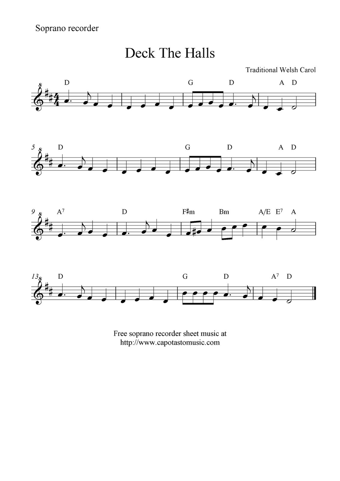 Deck The Halls Free Recorder Sheet Music