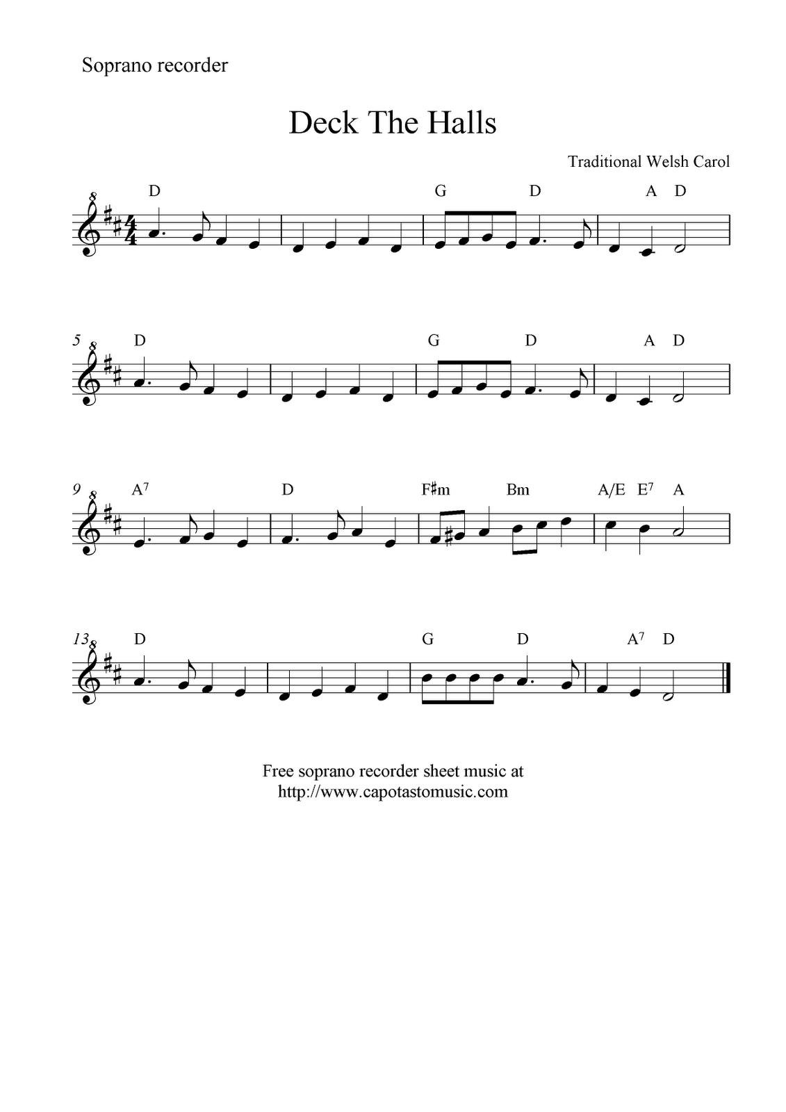 deck the halls free recorder sheet music