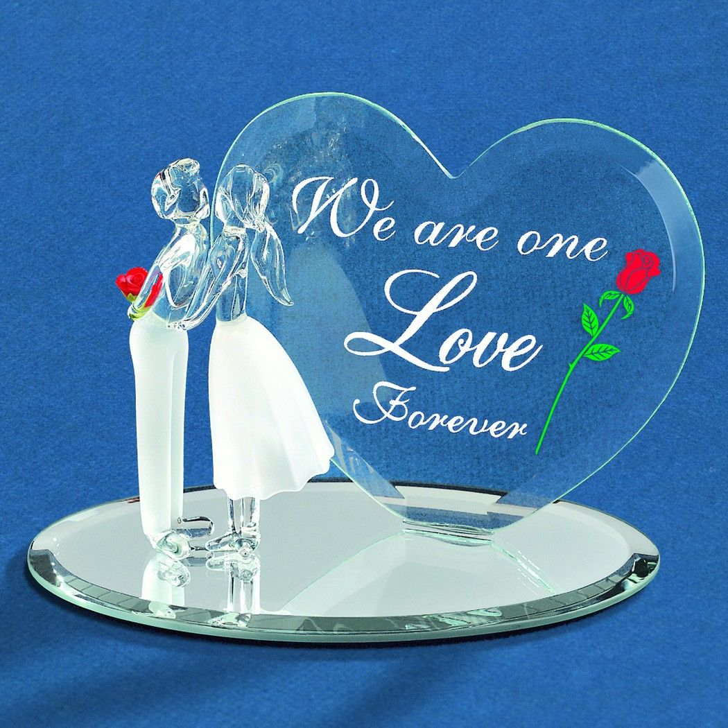 Glass Baron Heart With Couple Figurine Love Valentines Heart