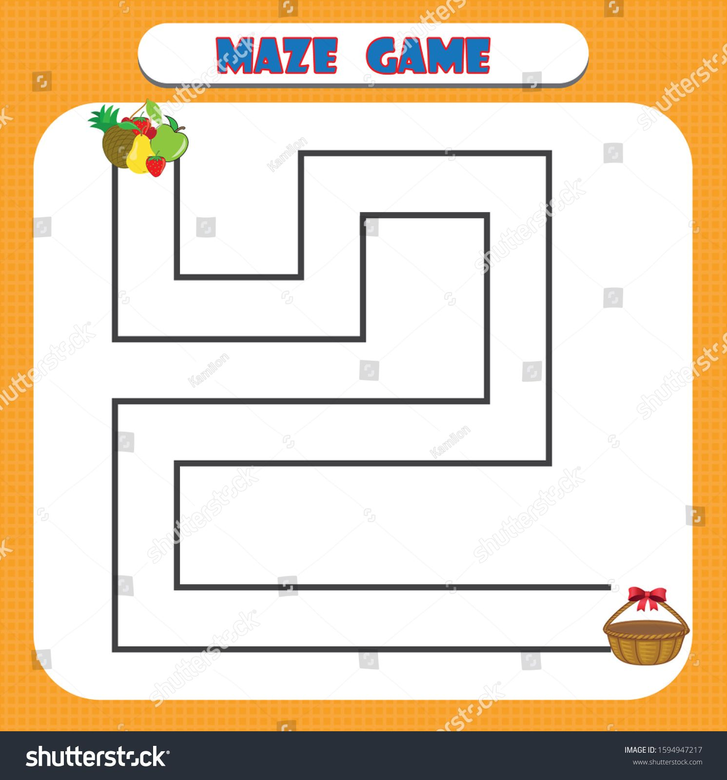 Maze Game For Kindergarten Children Education Developing