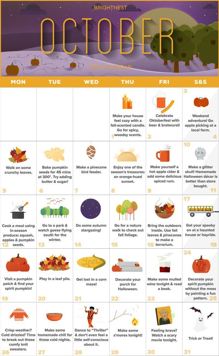 Your october calendar for an unforgettable autumn printable