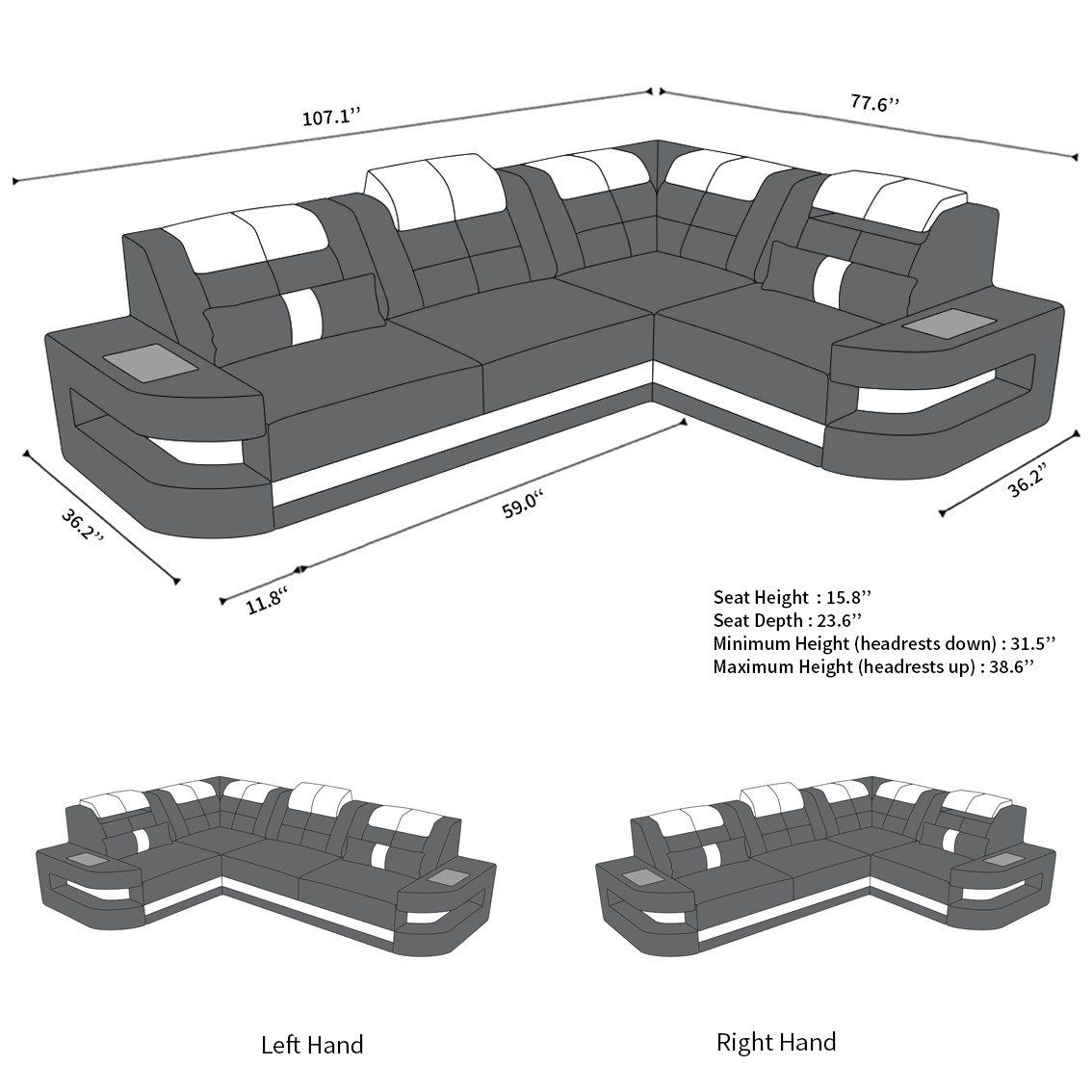 Leather Couch Denver L Shape #productiondesign