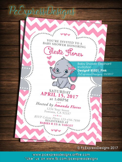 Baby Elephant Shower Invitation Is Customized To Either 4x6 Or 5x7 High Resolution Digital File Jpeg Which You Can Print Yourself Upload It