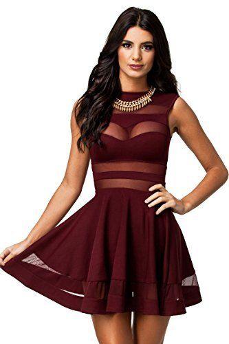 ebd84a3644 Made2envy - Vestido para mujer de estilo mini sin mangas y con  transparencias de color rojo de talla M