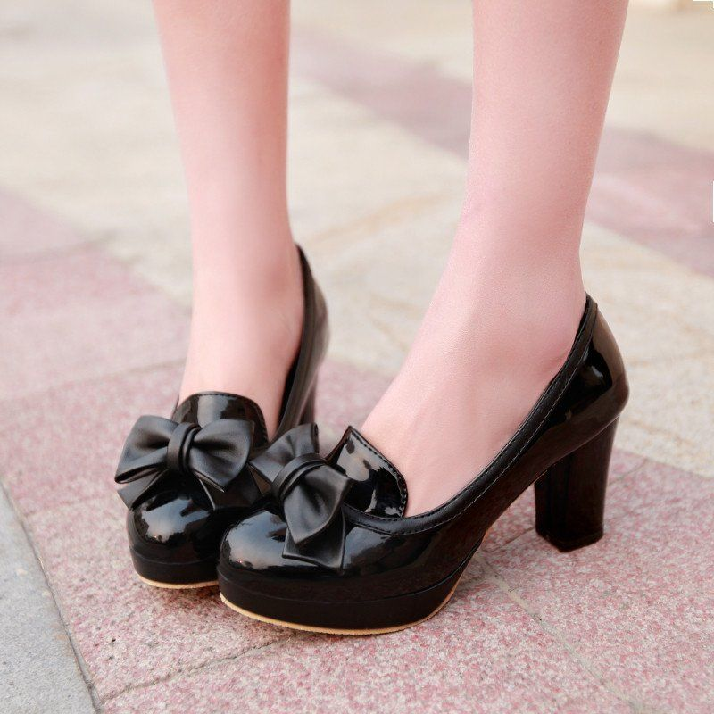 Bow Women Chunky Heel Pumps Platform Dress Shoes High Heels 9731