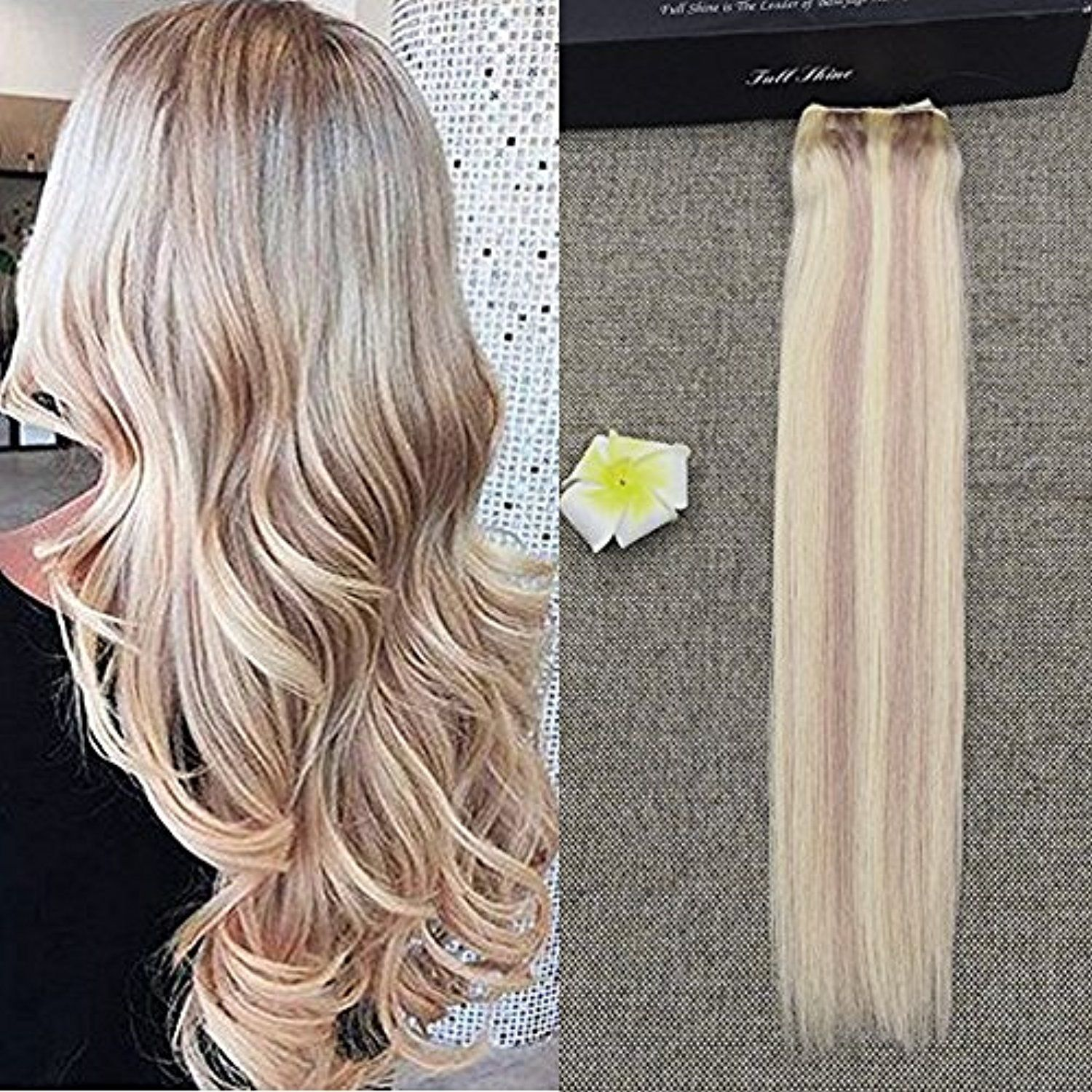 Full Shine 20inch Flip Human Hair Extension With An Adjustable