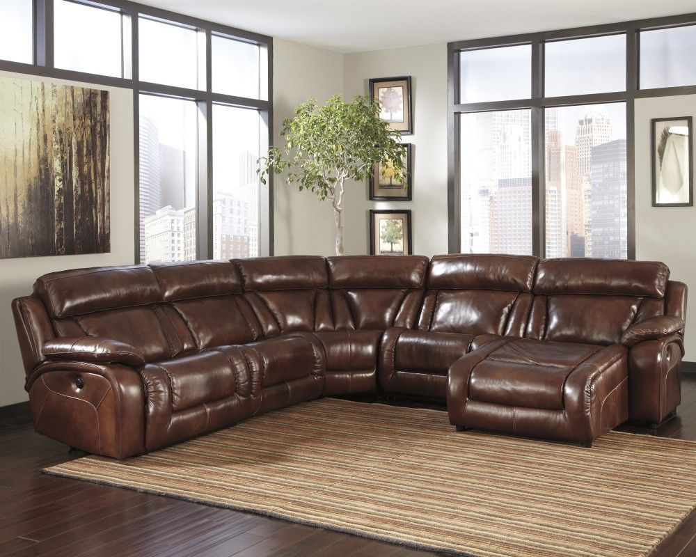 Elemen Harness 6 Pc Raf Chaise Leather Reclining Sectional
