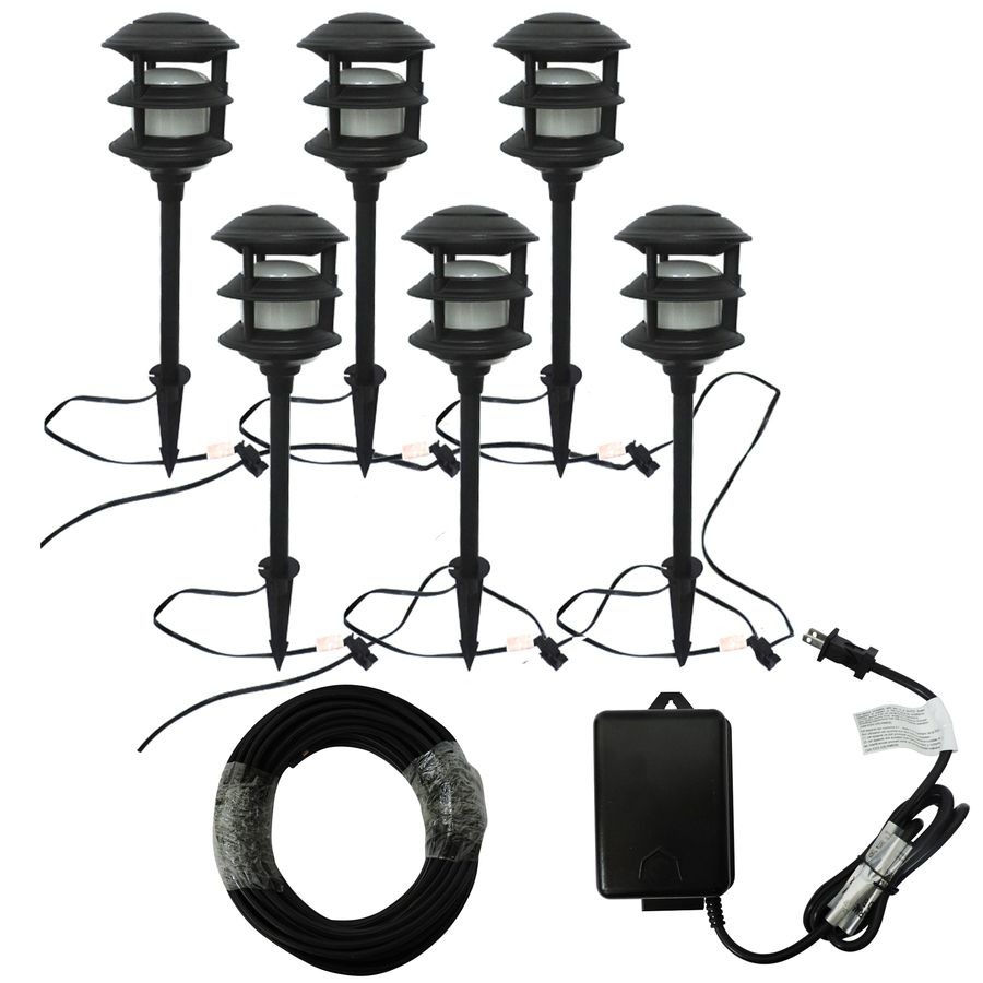 Landscape Lighting Kits Lowes : Portfolio bluetooth audio path light black low voltage