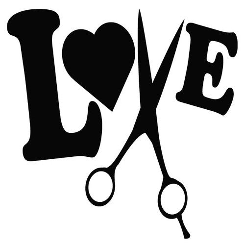 hair stylist love to cut decal sticker salon beautician