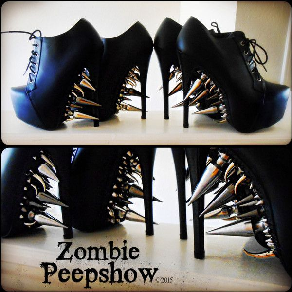 """Stiletto """"Riot"""" Platform Spike Boots   ❤ liked on Polyvore (see more stiletto heel boots)"""