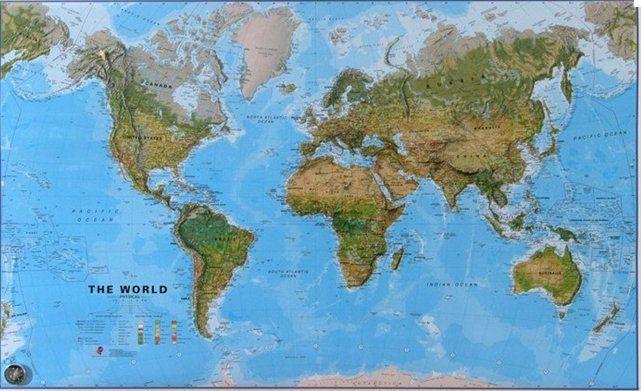 Cartina Geografica Del Mondo Fisica.006 Planisfero Fisico 197x120 Carta Murale Planisfero Mappe Incorniciate Poster Gigante Parete Murale