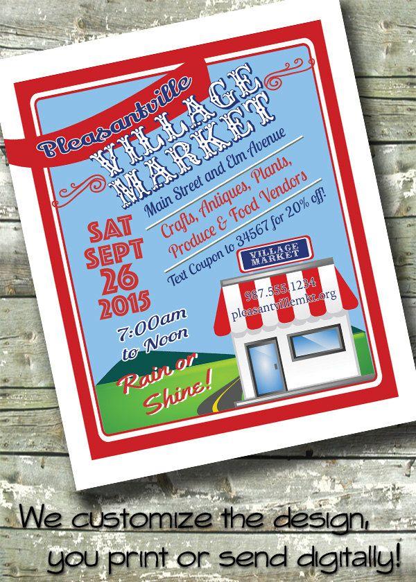 Street Village Market Flyer ~ Local Farmers Market ~ 5x7 Invite ~ 8.5x11 Flyer ~ 11x14 Poster ~ 300 dpi Digital Invitation by DitDitDigital on Etsy