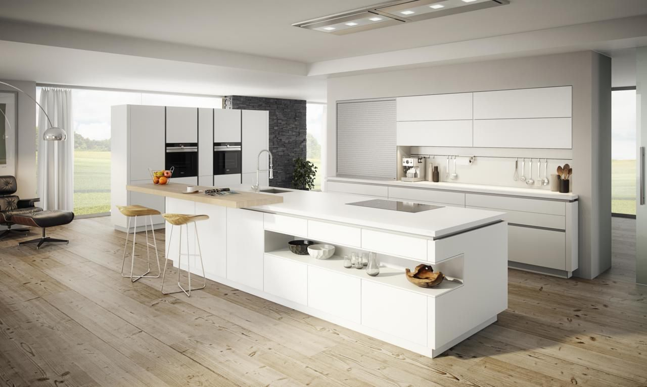 Ewe Vida Moderne Kuche Mit Kochinsel Weiss Hochglanz Minimalist Kitchen Design Popular Kitchen Designs Kitchen Design