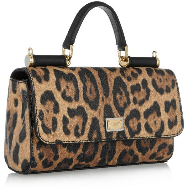 Dolce Gabbana Lipstick Leopard Print Textured Leather Shoulder Bag Liked On Polyvore Featuring