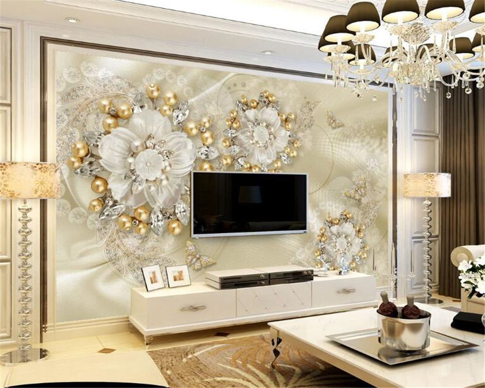 Beibehang Custom Wallpaper Golden Luxury Jewelry Tv