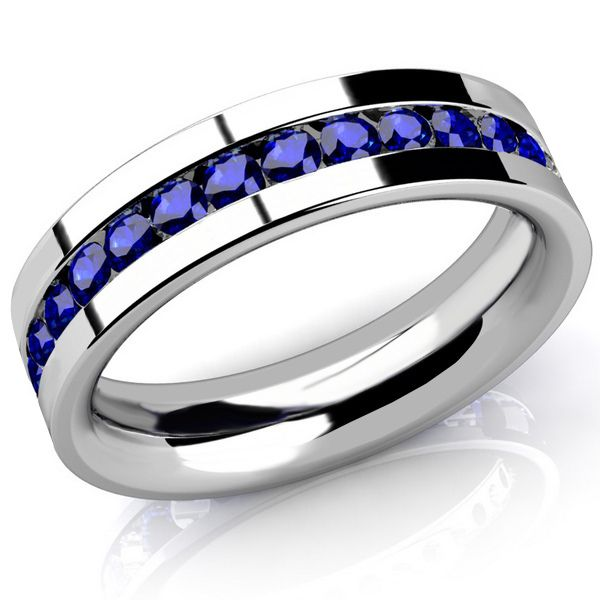 2 Carat Blue Sapphire Channel Set Men S Eternity Wedding Band Ring