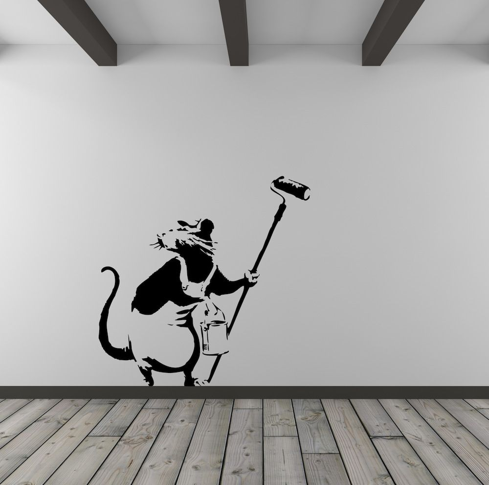 Graffiti wall art decals - Banksy Rat Painter Vinyl Wall Art Decal