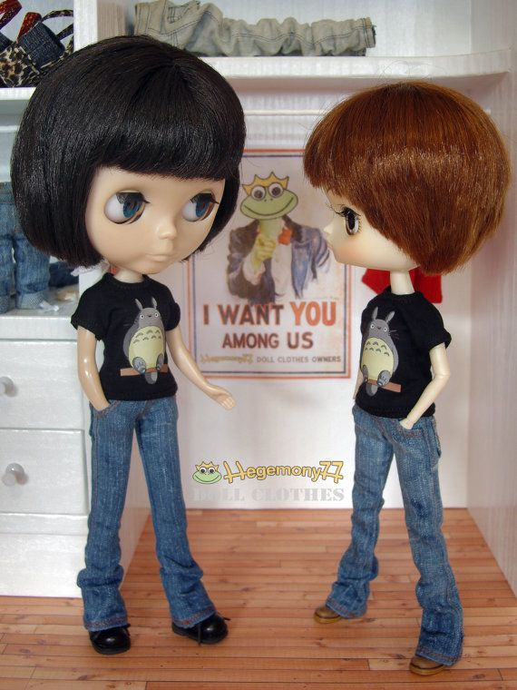 Blythe and Dal doll in flared denim jeans pants and Totoro T shirts