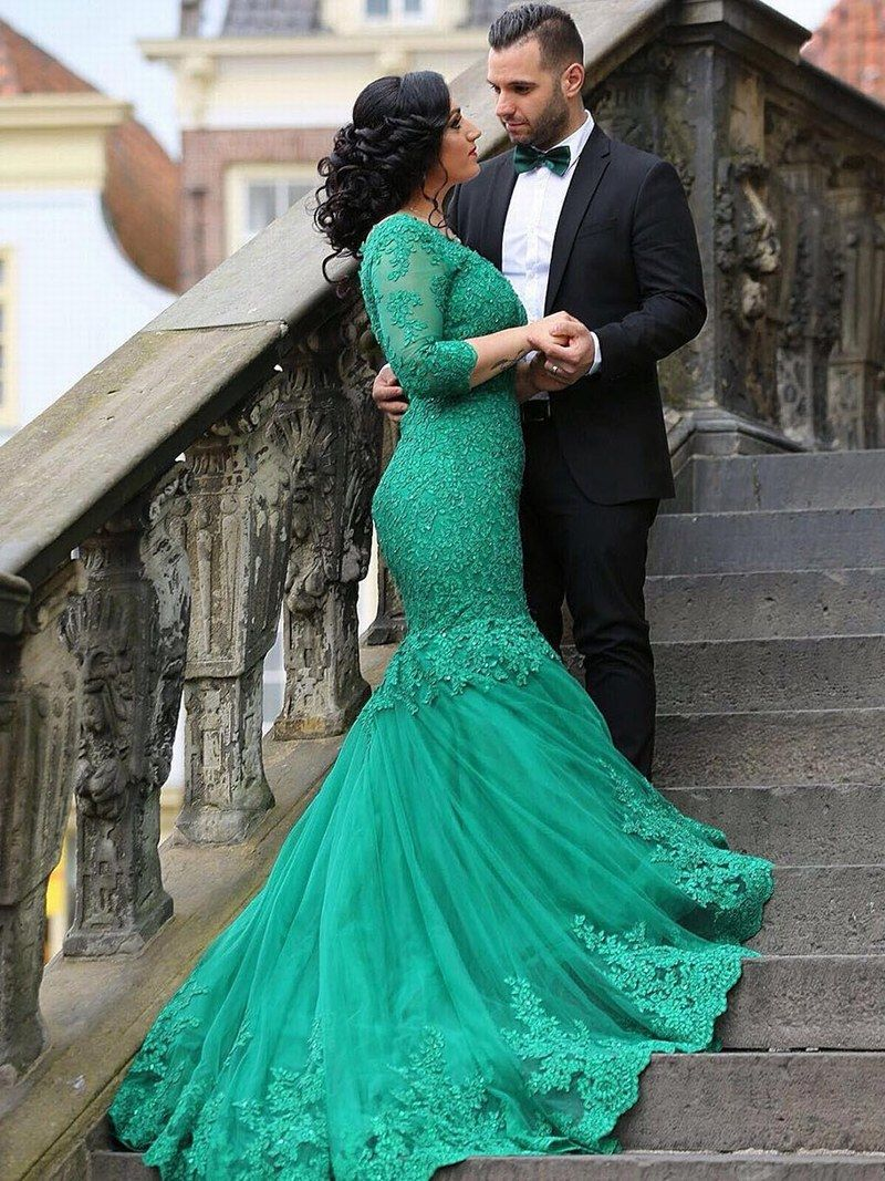 Mermaid Lace Prom Dress,3/4 Sleeves,Long Formal Dress,Evening ...