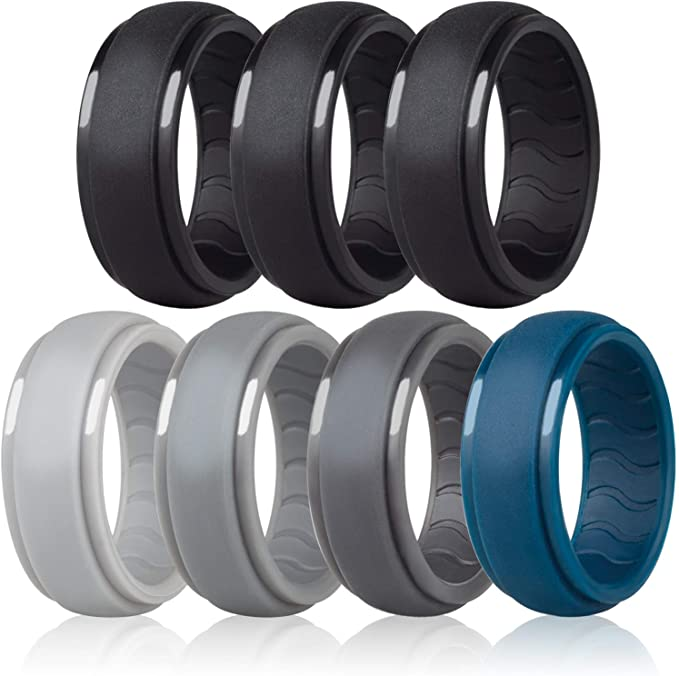 1-4-7 Pack Rubber Ring Bands For Men Black Blue Camo Engagement Band Dookeh Breathable Mens Silicone Wedding Rings Best for Workout