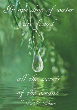 Had A Vision Of This One Drop Kahlil Gibran Water Quotes