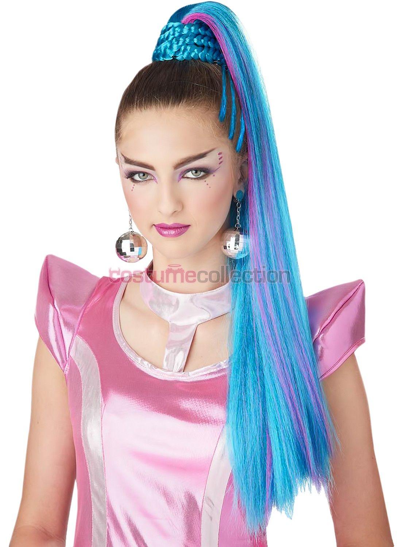 womens aqua cosmic costume ponytail