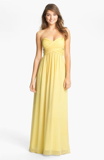 Max Cleo Strapless Chiffon Gown Available At Nordstrom