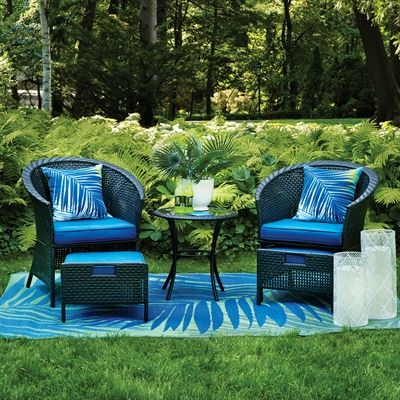 Garden Treasures Outdoor Conversation Set MW 6428 SETB Rivershore 5 Piece  Patio Conversation