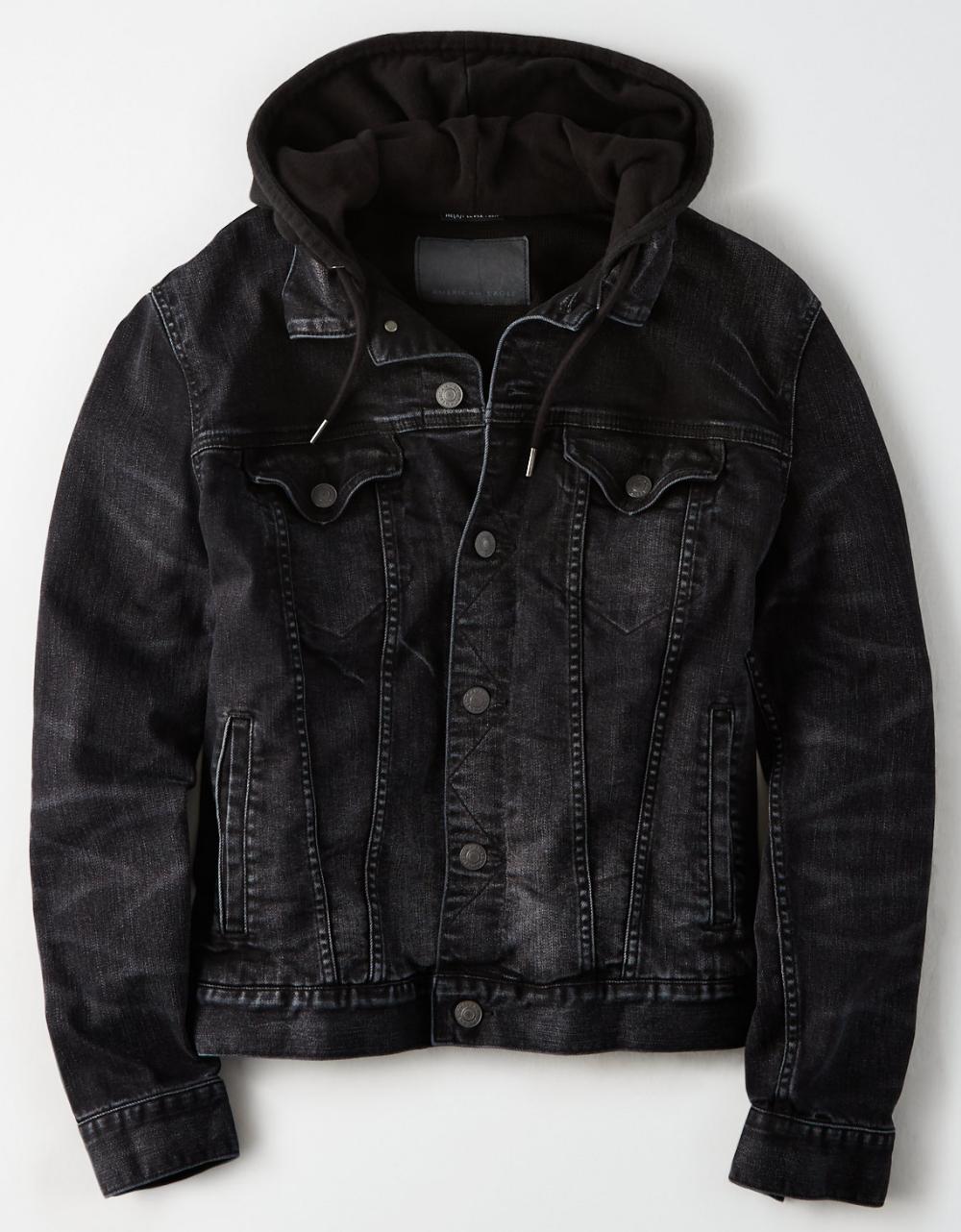 Ae Black Hooded Denim Jacket Hooded Denim Jacket Denim Jacket With Hoodie Diy Denim Jacket [ 1282 x 1000 Pixel ]
