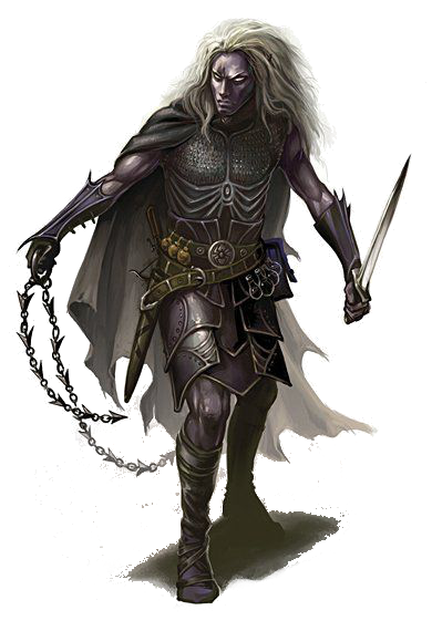 M Drow Elf Rogue Assassin Leather Chain Whip Short Sword Hilvl Dd