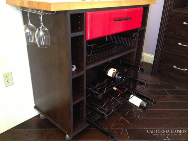 Rolling Wine Bar With Under Mounted Stem Holders Slide