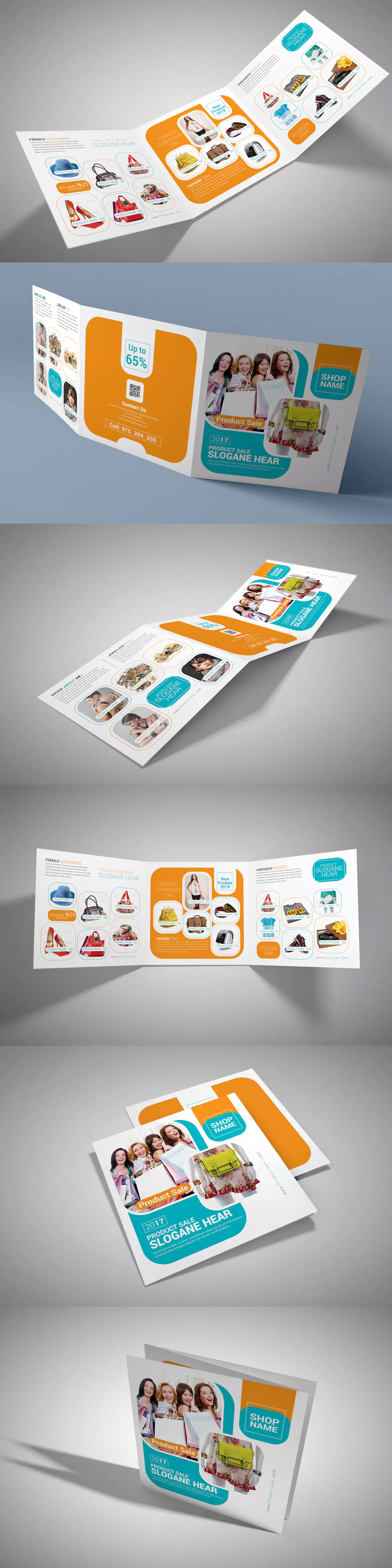 Product Sale Square Trifold Brochure Template Psd  Brochure