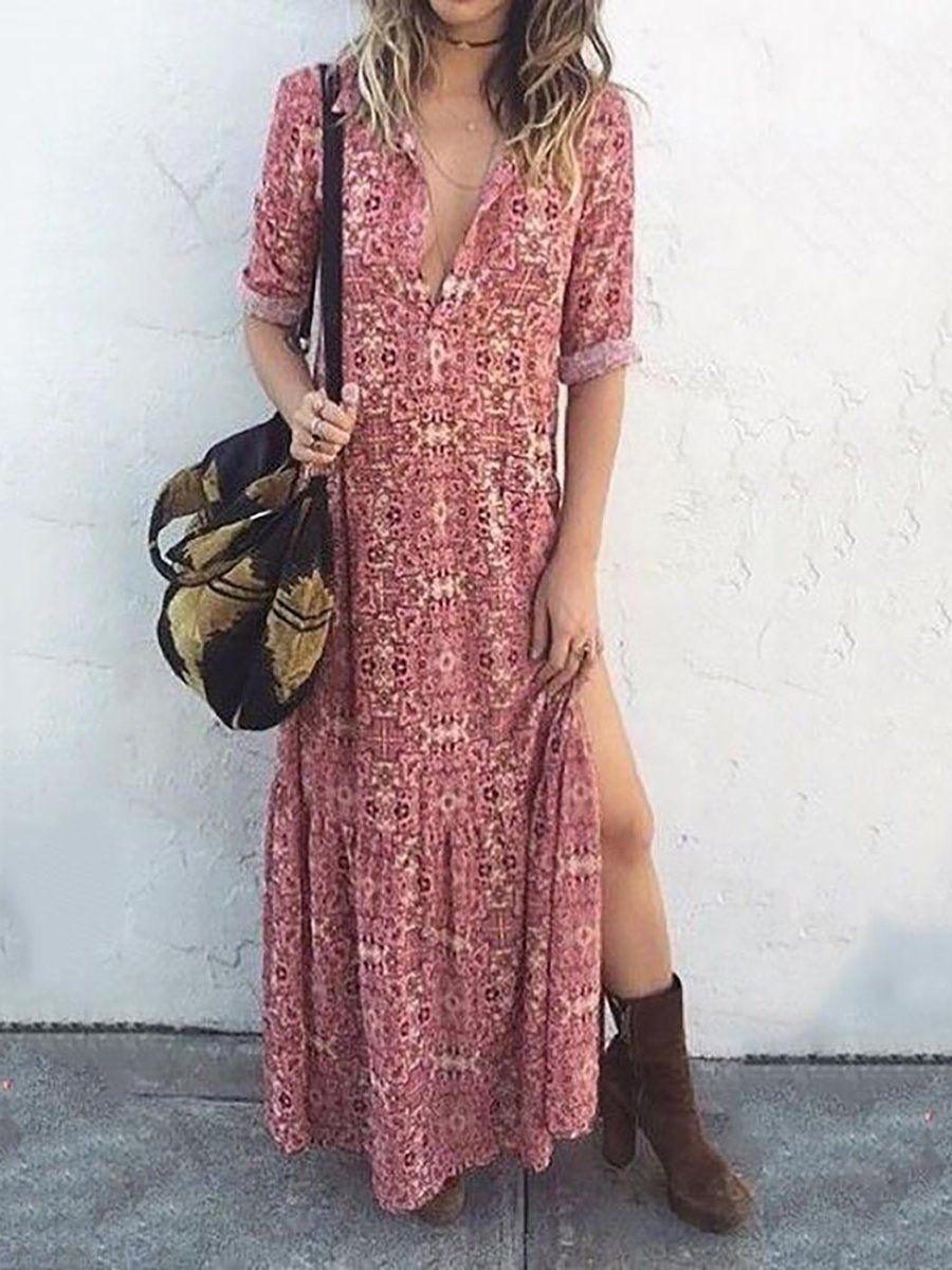 387cc86704 JustFashionNow Plus Size Shirt Collar Pink Women Fall Dress Shift Daily  Dress Long Sleeve Printed Floral Dress