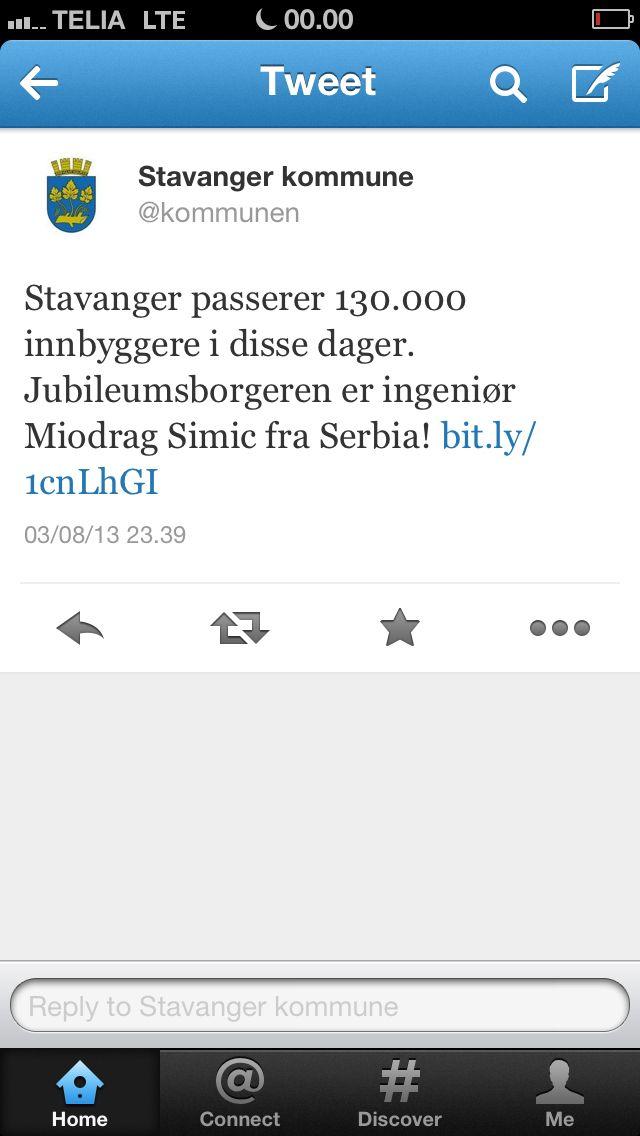 Stavanger Kommune på Twitter gør opmærksom på milepæl i antal borgere og hylder jubilæumsborger nr. 130.000