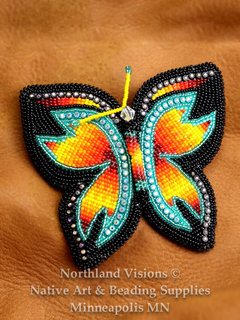 12512 Beaded Hair Barret Seed Bead Butterfly Ojibwe