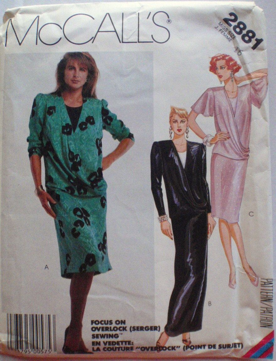McCall's 2881 - 1980's Draped Front Dress Sewing Pattern - Size 16, Bust 38 by Shelleyville on Etsy