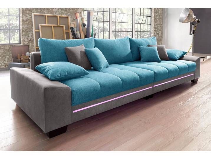 Nova Via Big Sofa Blau Inkl Loser Zier Und Ruckenkissen Fsc Zert Sofa Big Sofas Furniture