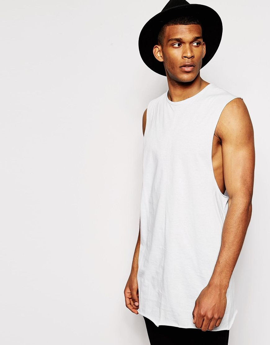 9930121deca4c ASOS Super Longline Sleeveless T-Shirt With Dropped Armhole And Raw Edge