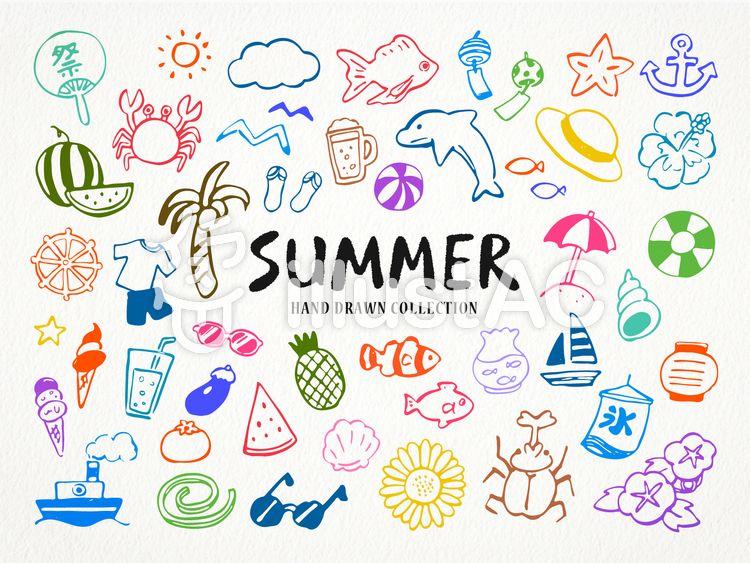 夏の手描き線画イラストセット 夏 イラスト 手書き イラスト