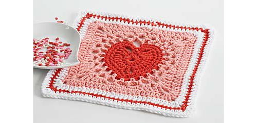 Heart Dishcloth/Square: Free Pattern