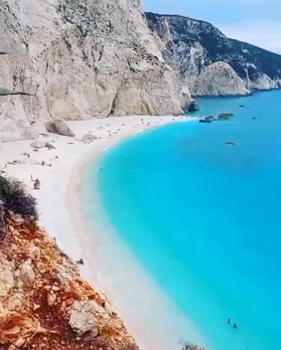 View from above of the famous Porto Katsiki beach in Lefkada island, Greece