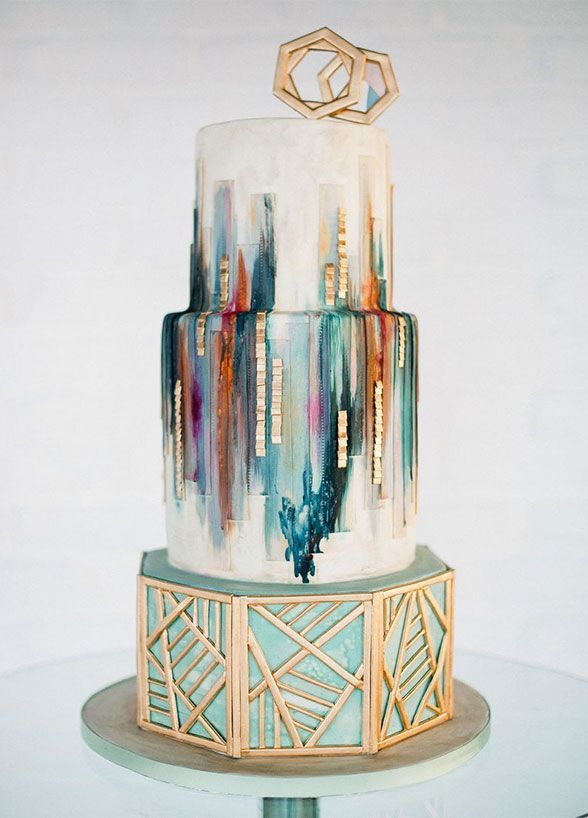 17 Wedding Cakes That Will Make You Forget All Other Geometric Gold Cake