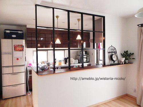 キッチン窓枠組作り 2 リビング キッチン 仕切り 小さなキッチンデザイン リビング キッチン