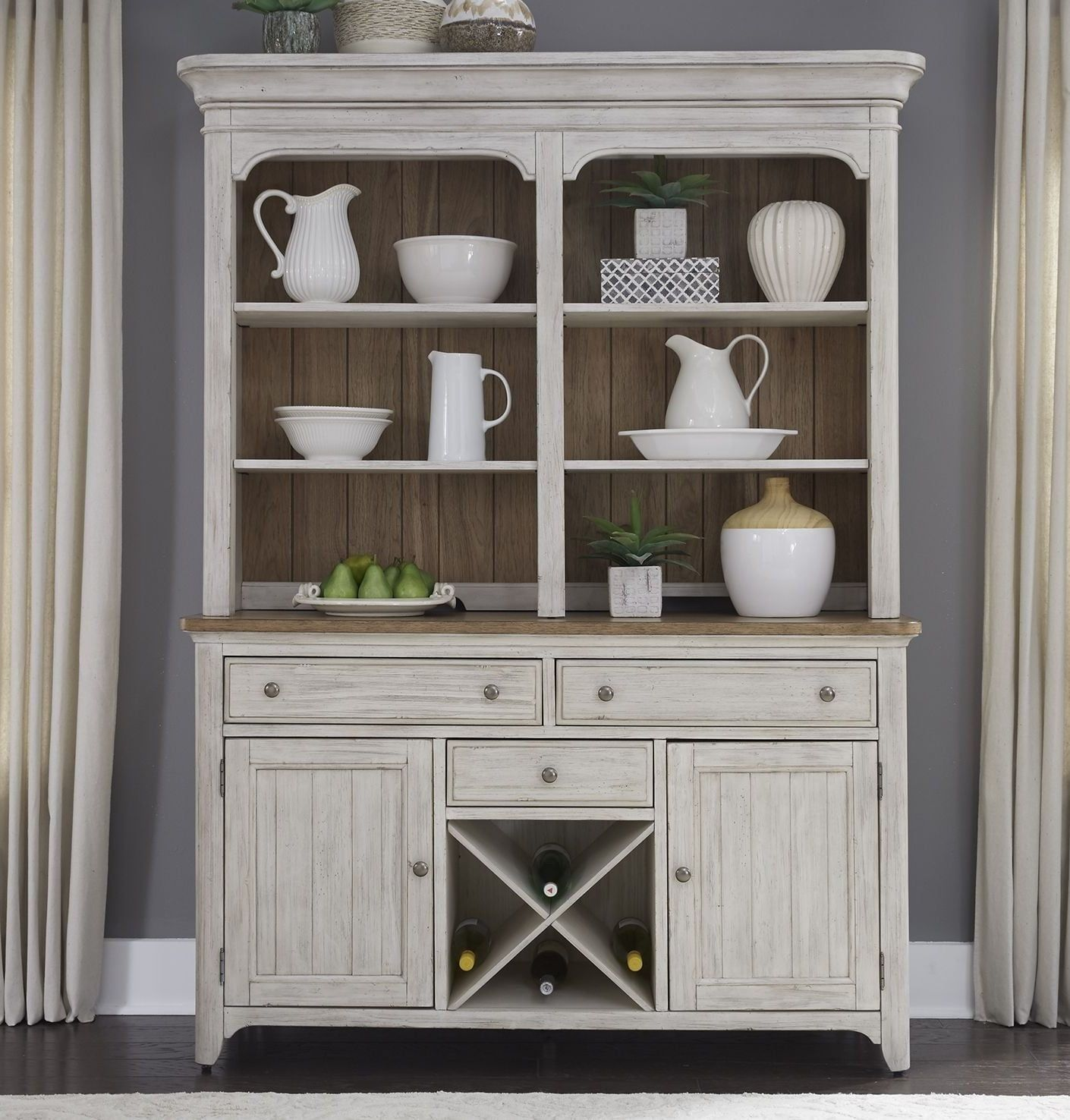 Farmhouse Reimagined Antique White Buffet with Hutch