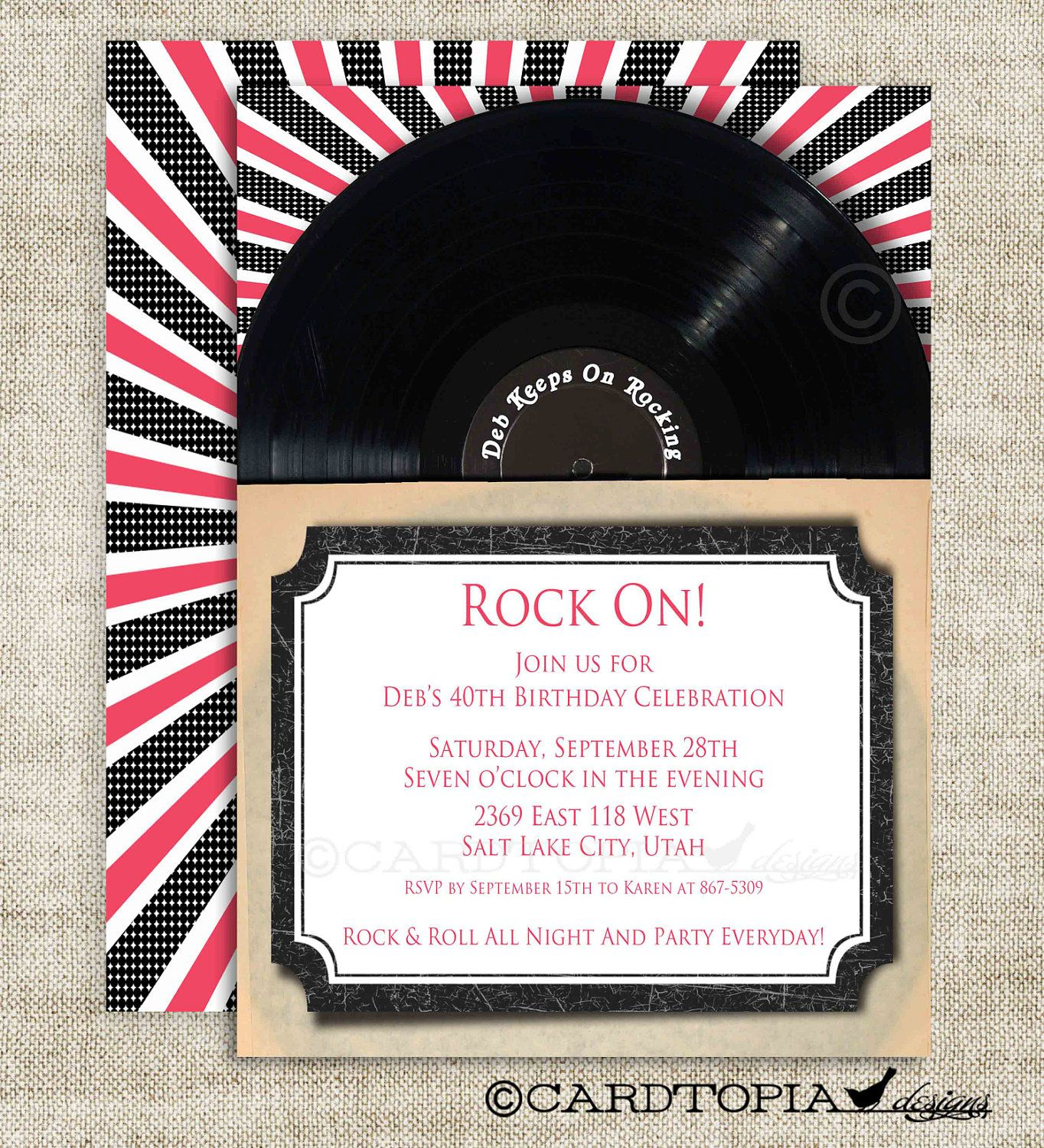 Rock and Roll Vinyl Record Birthday Invitation with Black and Pink – Rock and Roll Party Invitations